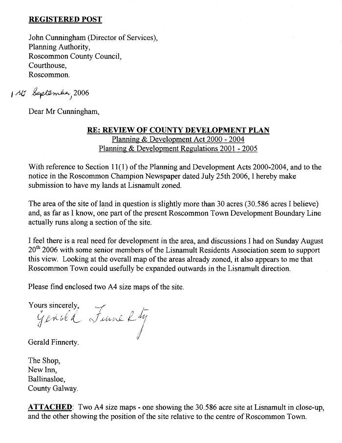 Zoning Submission Sent On September 1st 2006 To Roscommon